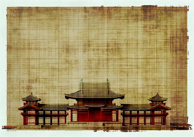 Temple japonais sur un parchemin